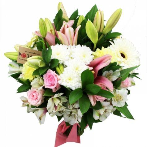 Букет, цветной букет из лилии и хризантемы